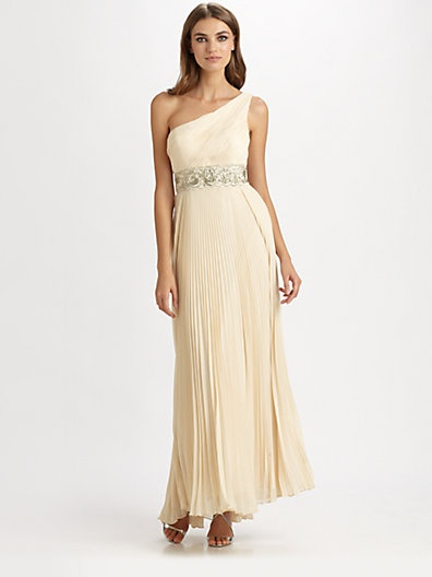 Sue wong one shoulder pleated gown from love for Saks fifth avenue wedding guest dresses