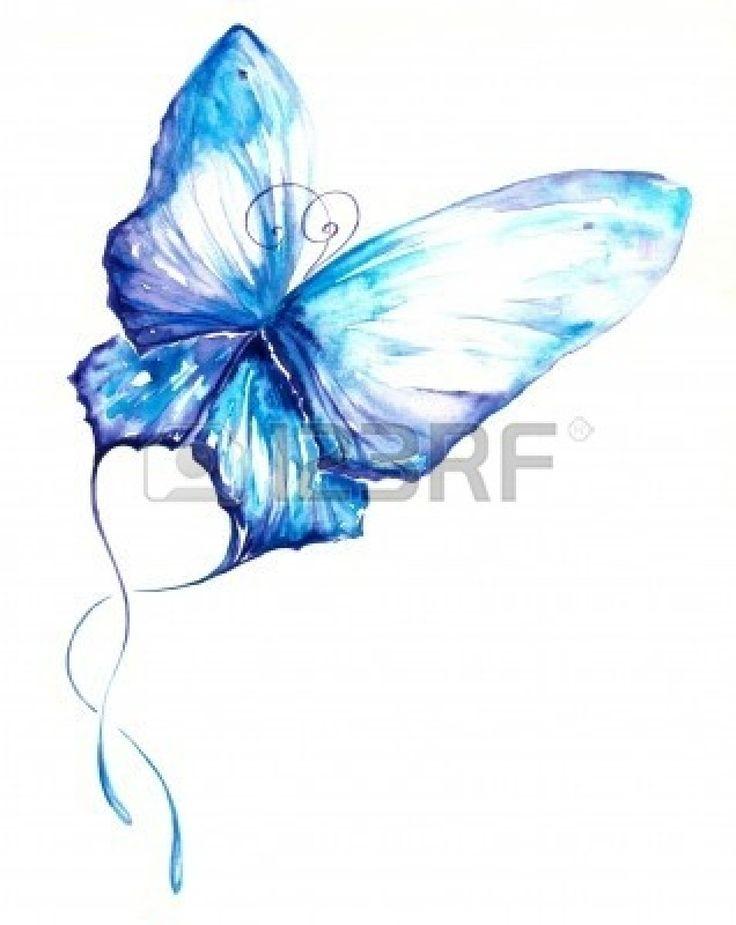 Papillon bleu aquarelle peinte. Banque d'images