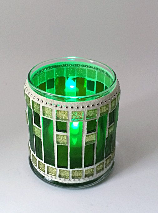 Glass mosaic lime green candle holder votive by BellasArtMosaics, $30.00