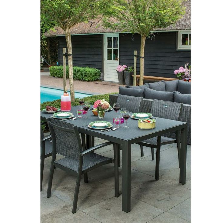 Salon de jardin en alu table rectangulaire 100x150cm 4 for Jardin rectangulaire