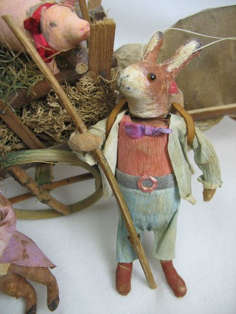 German Style Spun Cotton Rabbit by spun cotton baby lamb ornament by Arbutus Hunter