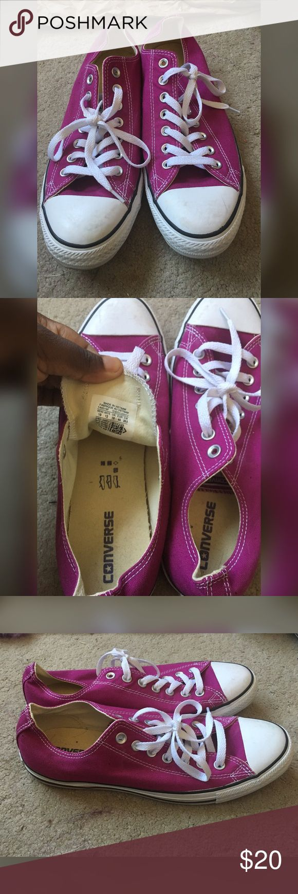 3 for $44 Converse all star womens 12 mens 10 Purchased from converse store these fuschia colored converse have been worn once still great condition couple scuffs can be wet wiped fit true to size lowest i can go is $19 to make $14 on the sale Converse Shoes Sneakers