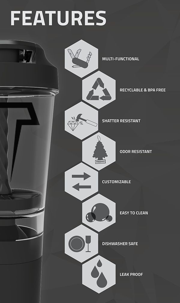 The revolutionary Titan Mixer Bottle is the world's first no-shake, easy-to-clean bottle for all your fitness fuel! One section stores your dry protein for