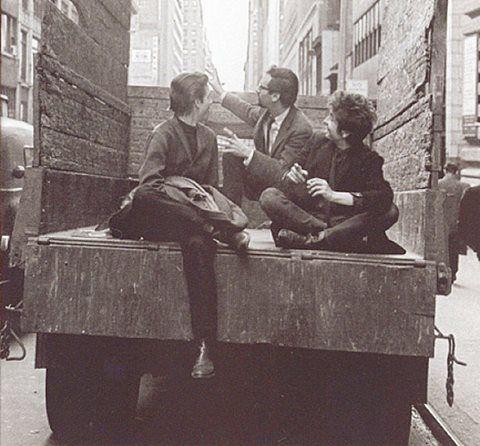 BOB DYLAN ON A TRUCK!!! PHOTOGRAPHER:: DANIEL KRAMER John Hammond Jr., Peter Yarrow, and Bob in Philadelphia...November 1964,