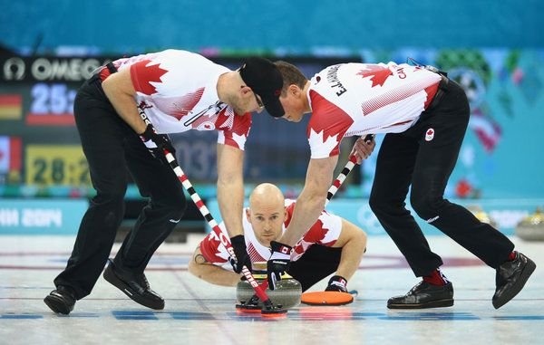 SOCHI, RUSSIA - FEBRUARY 10: Ryan Fry of Canada in action during the round robin match against Germany during day 3 of the Sochi 2014 Winter Olympics at Ice Cube Curling Center on February 10, 2014 in Sochi, Russia. (Photo by Clive Mason/Getty Images)