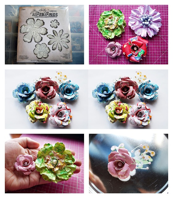 handmade flowers using tim holtz dies: Holtz The, Diy Flowers, Flowers Die, Crafts Flowers, Paper Flowers, Die Flowers, Tim Holtz, Cut Flowers, Handmade Flowers