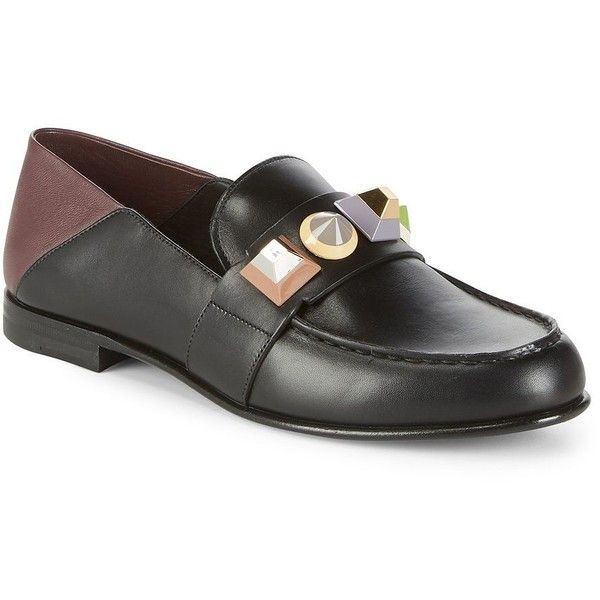 Fendi Slip-On Round Toe Leather Loafers ($630) ❤ liked on Polyvore featuring shoes, loafers, slip-on loafers, studded loafers, black shoes, black studded loafers and black leather loafers