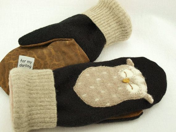 "More cute upcycled felted  mittens by ""for my darling"""