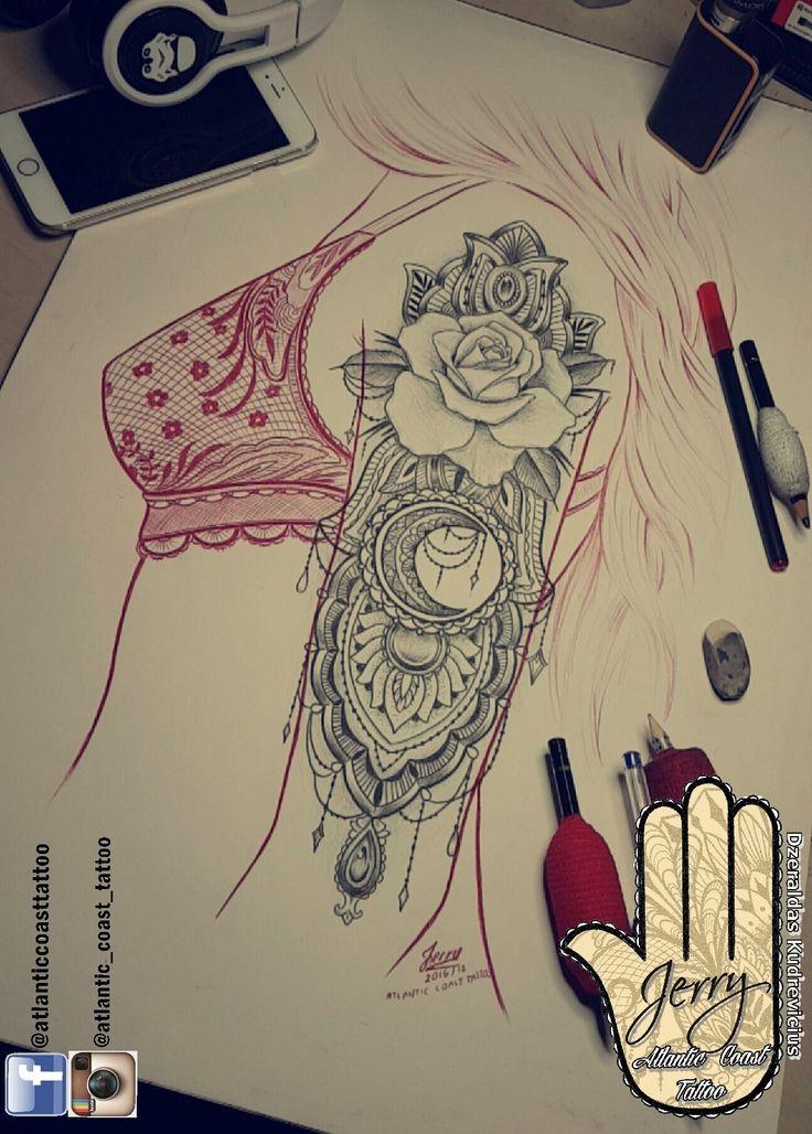 Schöne Hand Arm Tattoo Ideen von Dzeraldas Jerry Kudrevicius aus Atlantikküste Tattoo. Mandalalotosrosenspitze dotwork dekorative Zeichnung Tätowierung I