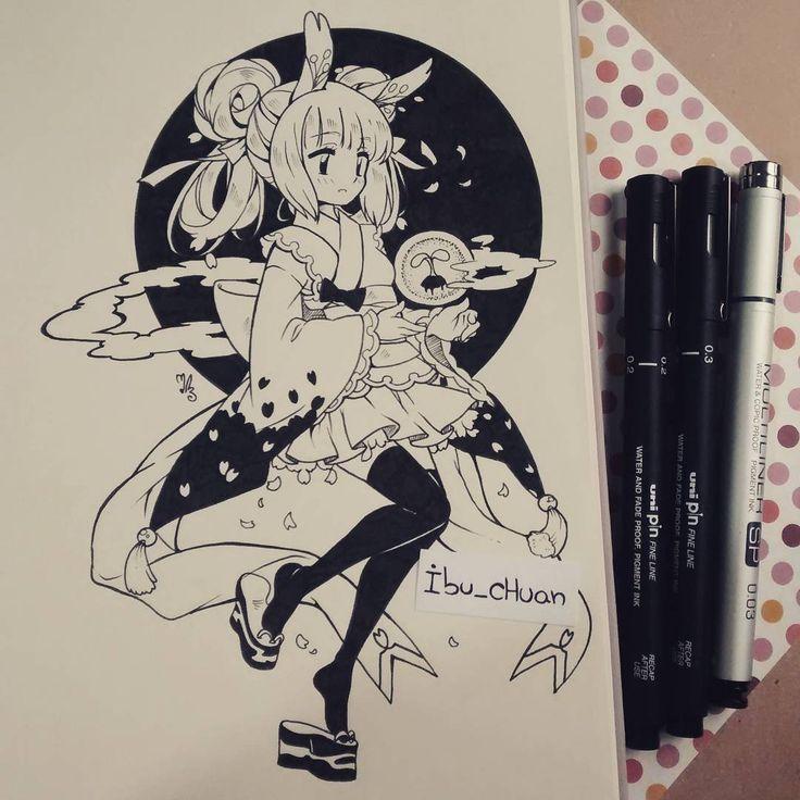 Ella es Meruru, otro oc mio que no uso nunca úvu le cambie todo el diseño original, pues existen millones de conejas blancas con kimono, es un personaje genérico, así que decir que es algo original.... Es algo ególatra XD aunque la mía no es el cliché repetido de la coneja de la luna, el tema de las flores no es lo más innovador del mundo, pero meh... Quise hacerla :3 #originalcharacter #usagi #sakura #kimono #traditional #inked #blackandwhite #instadraw #instaanime