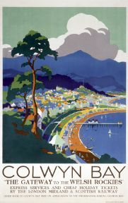 Welsh Railway Art Travel Poster Print Colwyn Bay Wales The Gateway to the Welsh Rockies by LMS