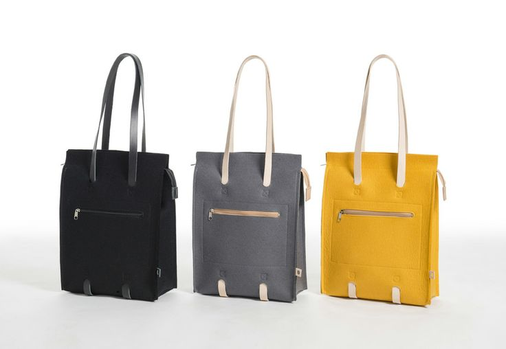 Jonas Hakaniemi for Lahtiset, JHFL 01, http://www.lahtiset.fi/fi/jhfl/jonas-hakaniemi-for-lahtiset.html #jonashakaniemi #lahtiset #felt #leather #bag #black #grey #yellow