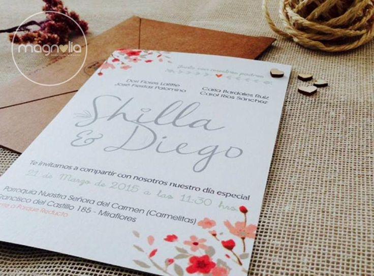 Flores en tus invitaciones de boda! Shilla + Diego   #bodasmagnolia #bodasenelcampo #bodasoriginales #bodas #campestre #vintage #rustic #original #creativo