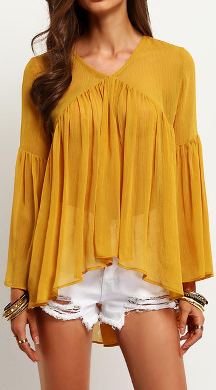 Yellow Bell Sleeve Ruffle Blouse