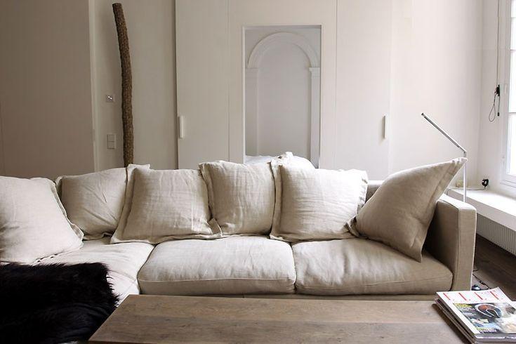 big comfy & chic floppy linen deep cozy sofa