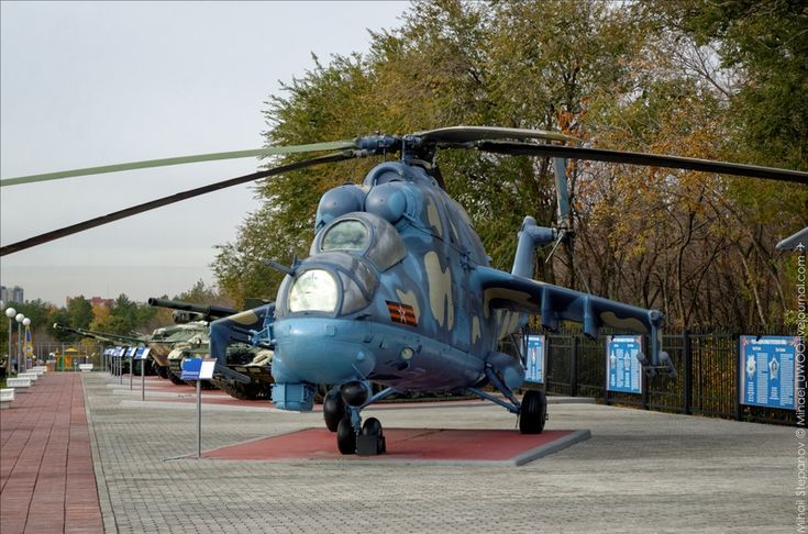 MI-24P attack helicopter monument in Russian village Rostoshi
