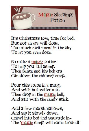 "The Changeable Table: ""Magic Sleeping Potion"" - for sleepless children everywhere. A Christmas Eve must"