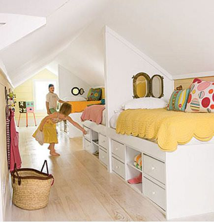 These built in beds and drawers are amazing! And look at those porthole-style windows!