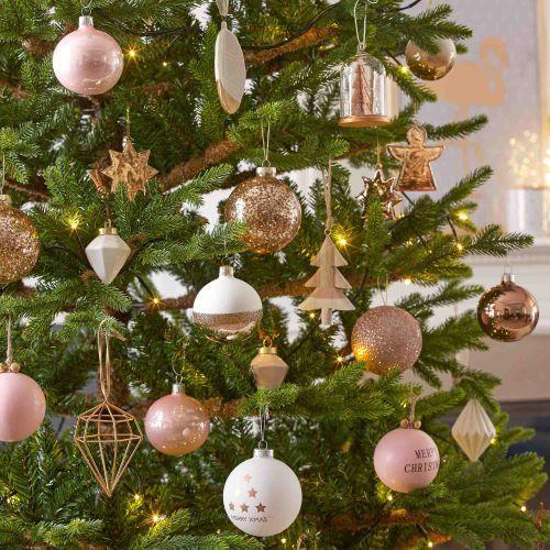Boule de Noël en verre blanche 7 cm COPPER