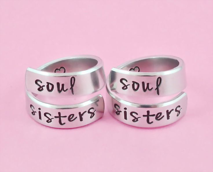Soul Sister - Hand Stamped Aluminum Spiral Wrap Ring Set, Sorority Sisters,  Best Friends BFF Friendship Jewelry, Besties Twist Rings by WonderfulStamping on Etsy https://www.etsy.com/listing/161312312/soul-sister-hand-stamped-aluminum-spiral