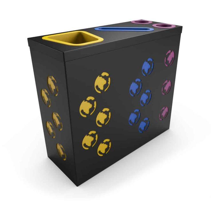 PROMETHEUS OFFICE Noir poubelle de tri sélectif avec compartiment papier et collecteur gobelets/canettes