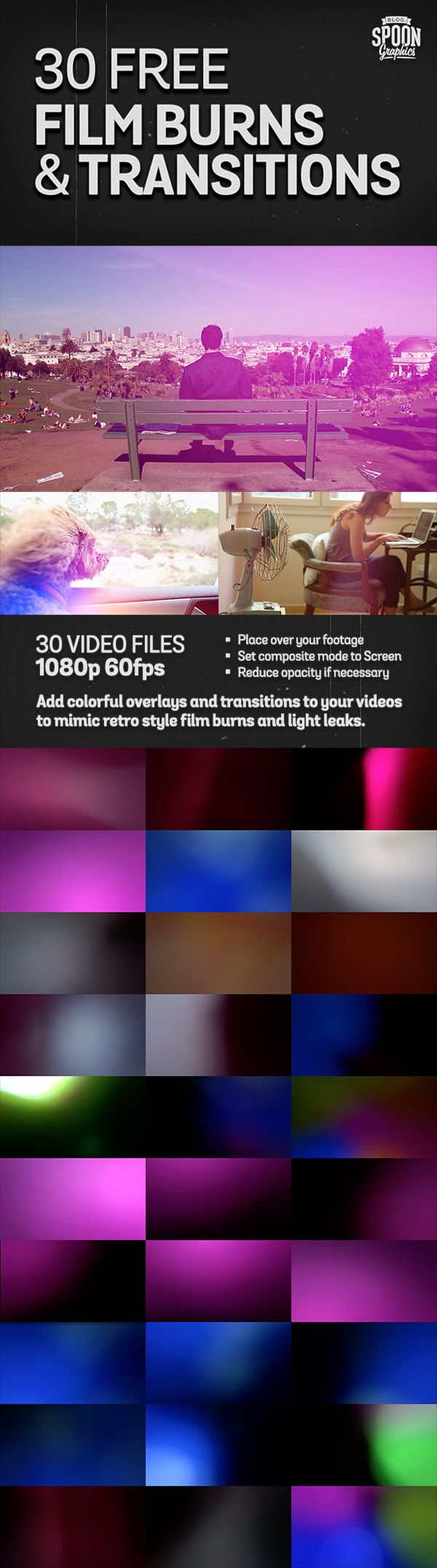30 Free Film Burns and Transitions for Video Editing