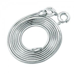 925 Solid Sterling Silver Snake Chain White Gold Plated