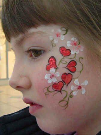 Flower Face-Painting Designs | HeartsFlowersLeft.JPG (86765 bytes)