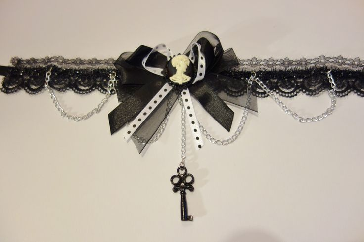 Steampunk or Halloween Choker - Black Lace with Skull Cameo - The Littlest Costume Shop in Melbourne