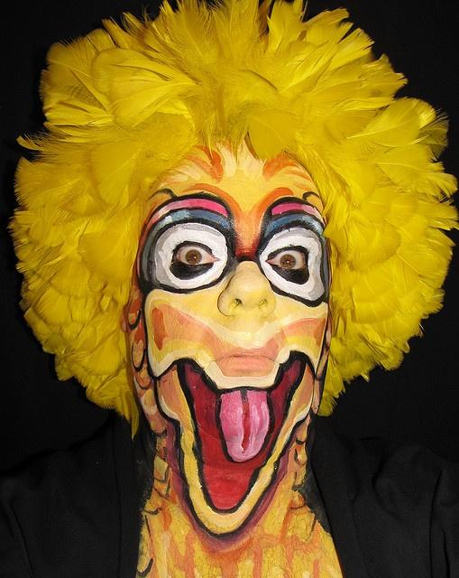 Big Bird Makeup for Halloween!