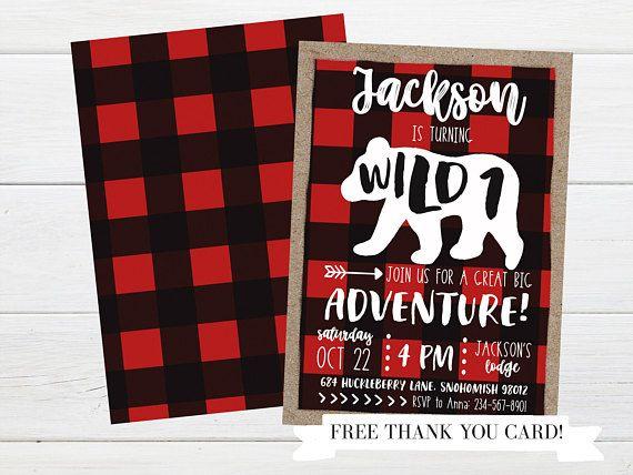 12 PAK 5x7 Wild One Bears  Lumberjack Camping Woodland  1st Birthday Boy Girl  Party Favor Gift Bags Treat Bag  Boy Girl  3 Day Ship