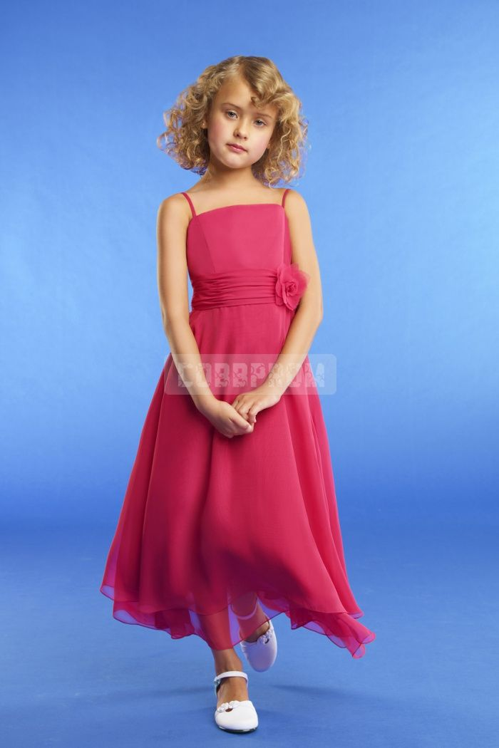 Floral Chiffon Junior Spaghetti Straps Red Ankle Length Bridesmaid Dress