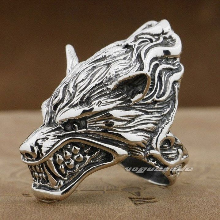 Punk Rocker Fashion Anger Wolf Ring Solid 925 Sterling Silver Cool Men's Biker Wolf Head Ring 8V007 http://www.thesterlingsilver.com/product/gents-solid-sterling-silver-carved-centurions-head-natural-hematite-mens-mans-signet-ring-made-in-england-size-p-finger-sizes-n-to-z3-available/