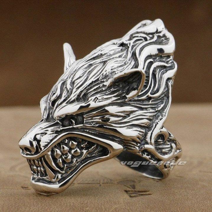 Punk Rocker Fashion Anger Wolf Ring Solid 925 Sterling Silver Cool Men's Biker Wolf Head Ring 8V007