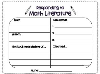 Here's a response sheet for students to complete when reading a book with a math focus.