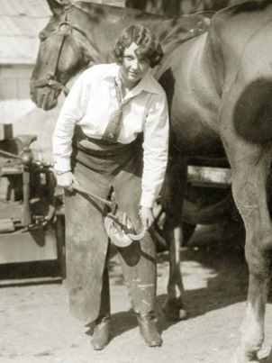 female farrier with horse 1927