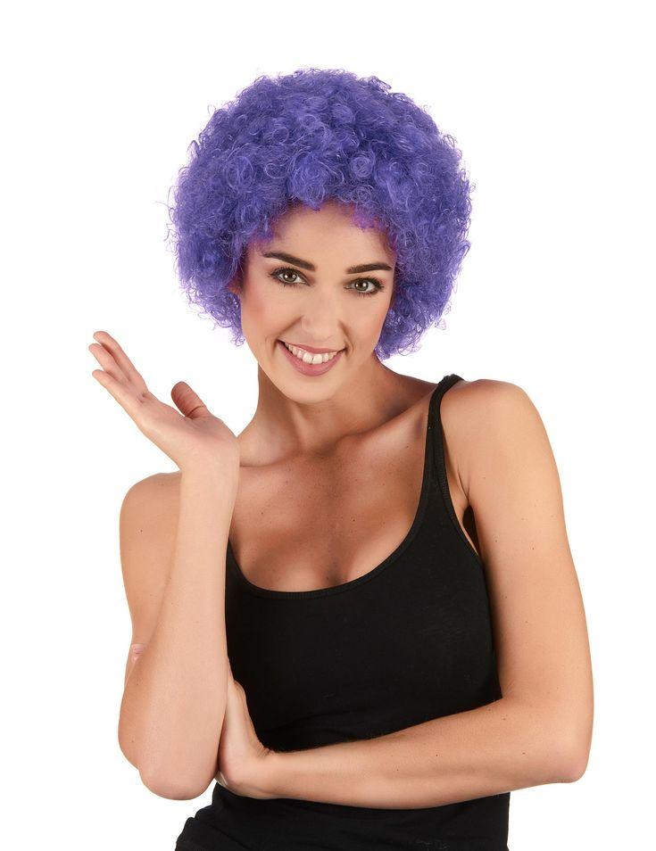 Peluca afro / payaso violeta estándar adulto: Esta peluca para adulto es de corte afro.El pelo es sintético y violeta.Esta peluca completará disfraces de payaso o disfraces disco originales.