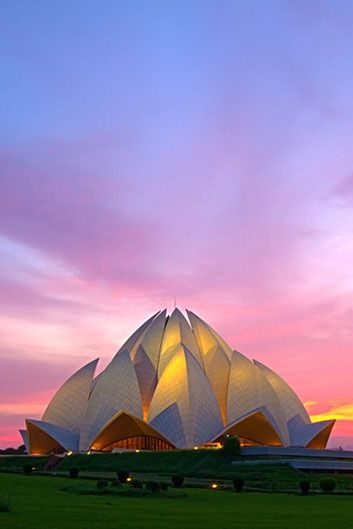 Lotus Temple - New Delhi, India - One of the most beautiful, outrageous experiences I've ever had was to listen to a singer here, with her voice resounding off the concrete interior pedals of this building.