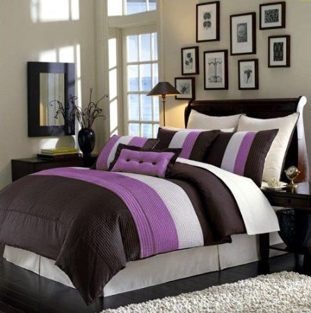 purple and brown bedroom 8 pc luxury set choco purple faux silk 16813
