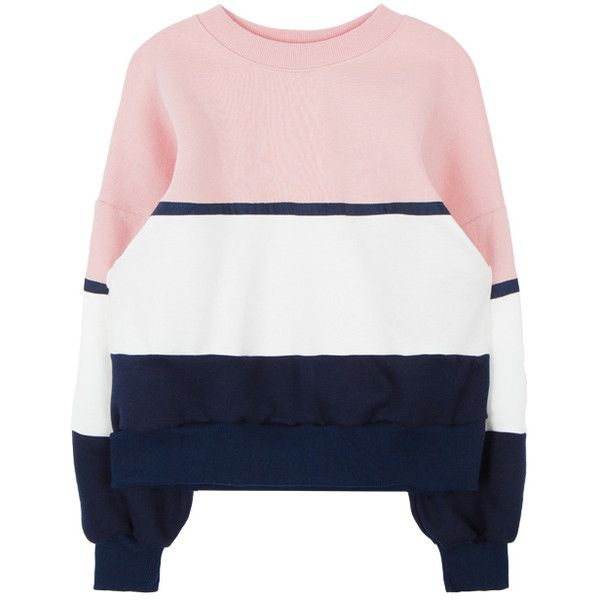 Color Blocked Cotton Sweatshirt ($26) ❤ liked on Polyvore featuring tops, hoodies, sweatshirts, loose tops, long sleeve tops, block tops, cotton sweat shirts and cotton sweatshirts
