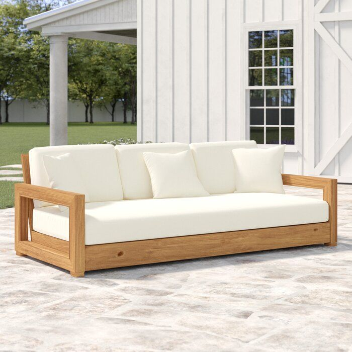 O Kean Teak Patio Sofa With Cushions Reviews Birch Lane In 2020 Rustic Outdoor Sofas Patio Sofa Outdoor Sofa