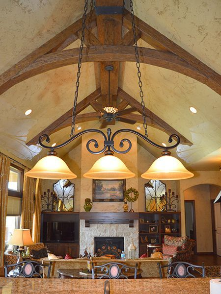 121 best images about design ideas living rooms on for Faux wood trusses