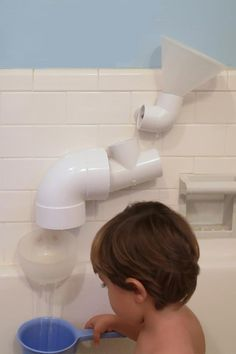 PVC BATH TOYS. Made with a collection of PVC connectors and a package of suction cups. Requires a drill and the right drill bit.