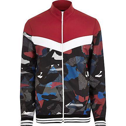 Red camo print track jacket $70.00