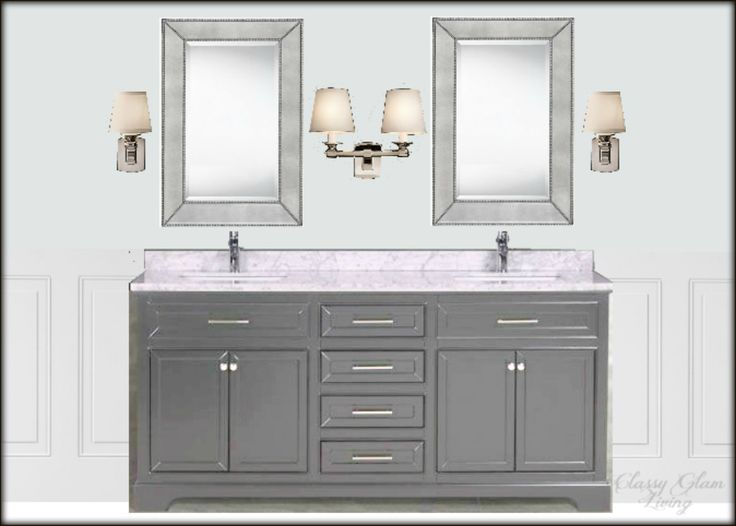New+House+Master+ensuite+design+board+|+vanity+view+|+Classy+Glam+Living+|+Sources: Vanity+Muti;+mirror+Home+Depot;+Single+and+Double+Scounces+Restoration+Hardware;+wall+colour+Benjamin+Moore+Marilyn's+dress;+crop+of+wainscoting+Lowes