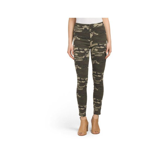 Juniors Super High Rise Camo Skinny Jeans ($20) ❤ liked on Polyvore featuring jeans, white super skinny jeans, high-waisted skinny jeans, high waisted stretch jeans, high rise skinny jeans and high-waisted jeans