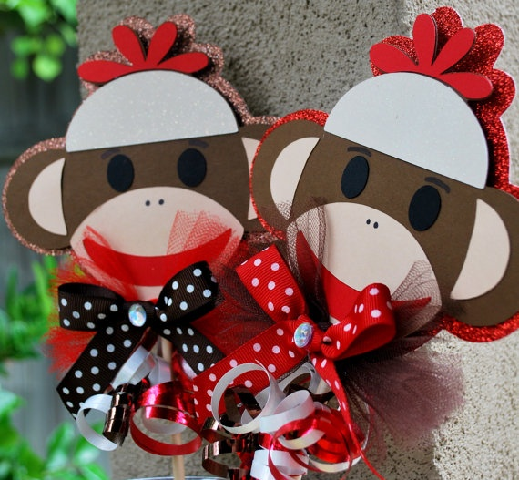 Sock Monkey Toppers by OohLalaCreation on Etsy, $8.00
