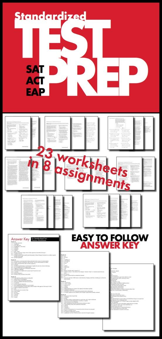 Get your college-bound students ready for the S.A.T. and/or the A.C.T. with these homework worksheets designed to have them put their skills to the test in a low-pressure environment. Full answer key included, of course.