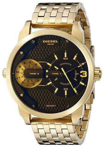 Montre Diesel DZ7341 Homme - Quartz - Analogique - Cadran et Bracelet en Acier inoxydable Or - Etanche 3 bar