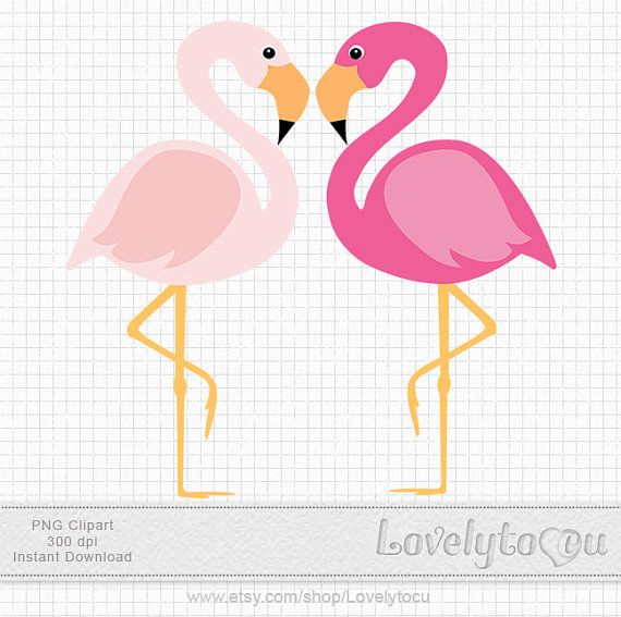 Pink Flamingo Clipart A Pair Of Birds Digital PNG